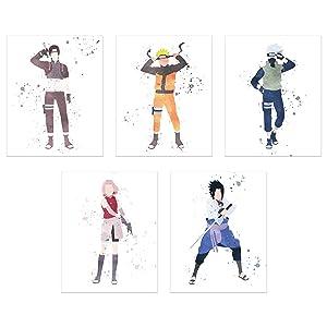 Watercolor Naruto Shippuden Poster Prints - Set of 5 (8x10) Shonen Anime Team 7 Wall Art Decor - Naruto Uzumaki - Sasuke Uchiha - Sakura Haruno - Kakashi Hatake - Sai Yamanaka