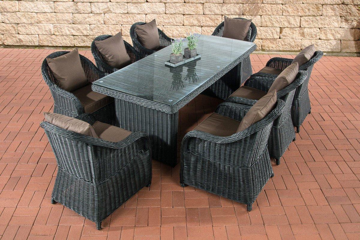 CLP Poly-Rattan Essgruppe LAVELLO XL, Tisch 200 x 90 cm + 8 Sessel inkl. Kissen, 5 mm RUND-Geflecht Bezugfarbe: Terrabraun, Rattan Farbe: Schwarz