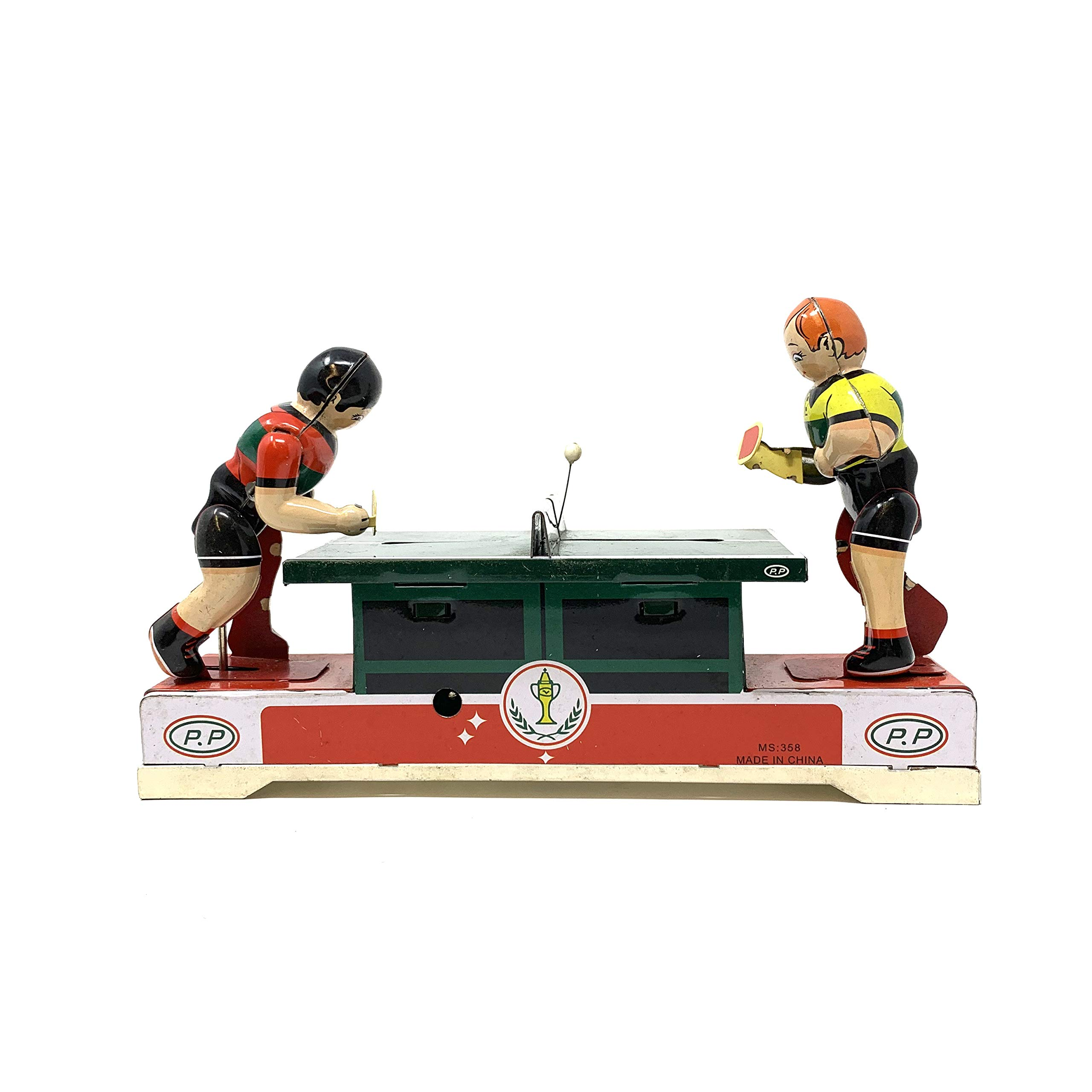 Off the Wall Toys Vintage Windup Ping Pong Match Souvenir Clockwork Collectable Tinplate Toy