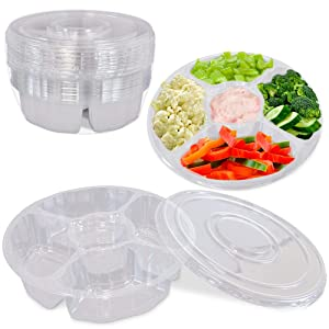 [8 Pack] 10 Inch Round Plastic Appetizer Tray with Lid - 5 Compartment Container, Food Serving Dip Platter, Disposable Clear PET Storage, Kids Snack, Veggie Fruit Travel Organizer for Party and Buffet
