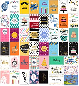 Happy Birthday Cards Assortment, Birthday Cards Bulk 48 Unique Designs,4 x 6 Inches Blank Birthday Cards With Envelopes for Kids & Adults