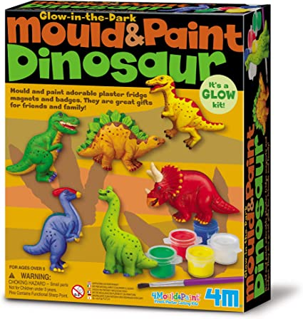 Amazon.com: 4M Glow-in-The-Dark Mould & Paint Dinosaur DIY Arts & Crafts Glow Mix & Make for Kids Girls & Boys (3856): Toys & Games