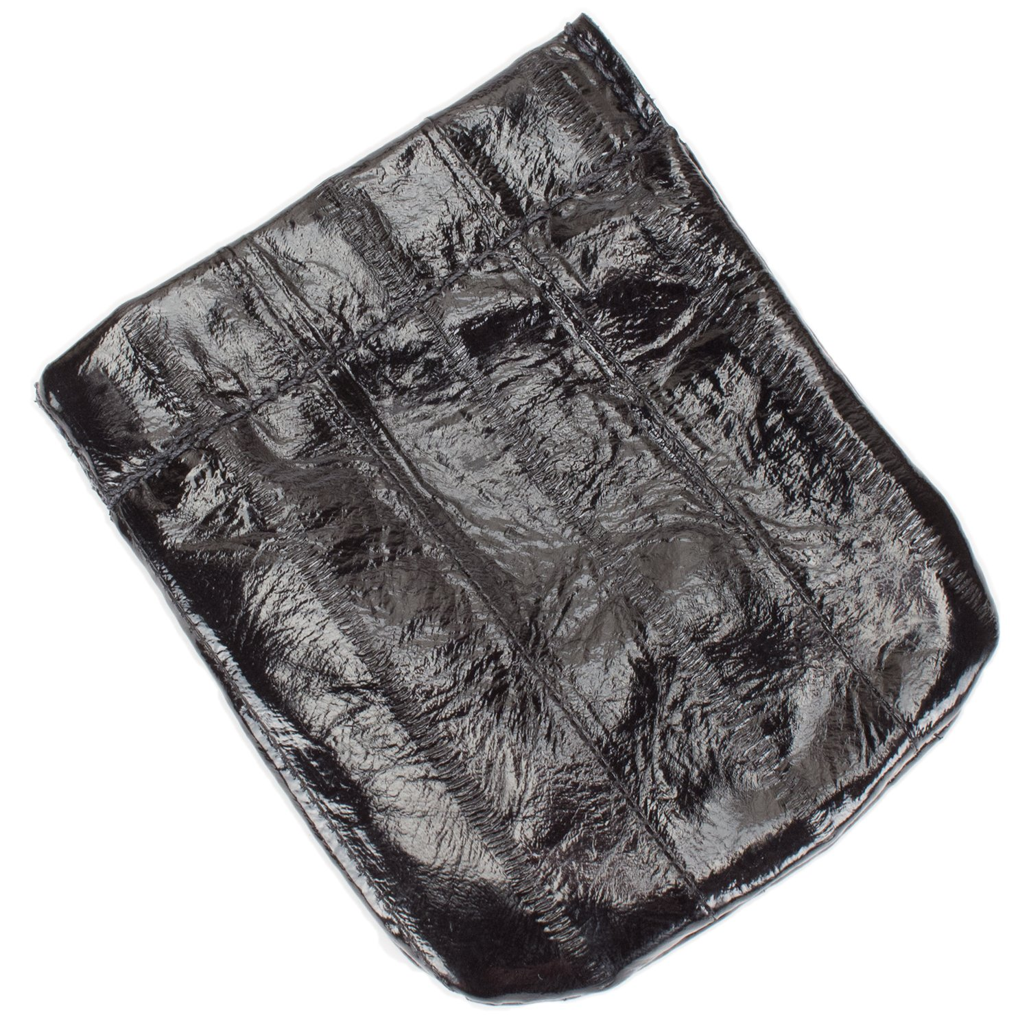 Genuine Eel Skin Leather Spring Loaded Coin Pouch (Large, Black)