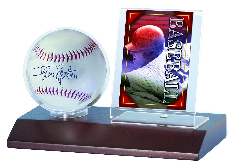 Amazon.com : MLB Dark Wood Base Ball and Card Holder : Sports ...