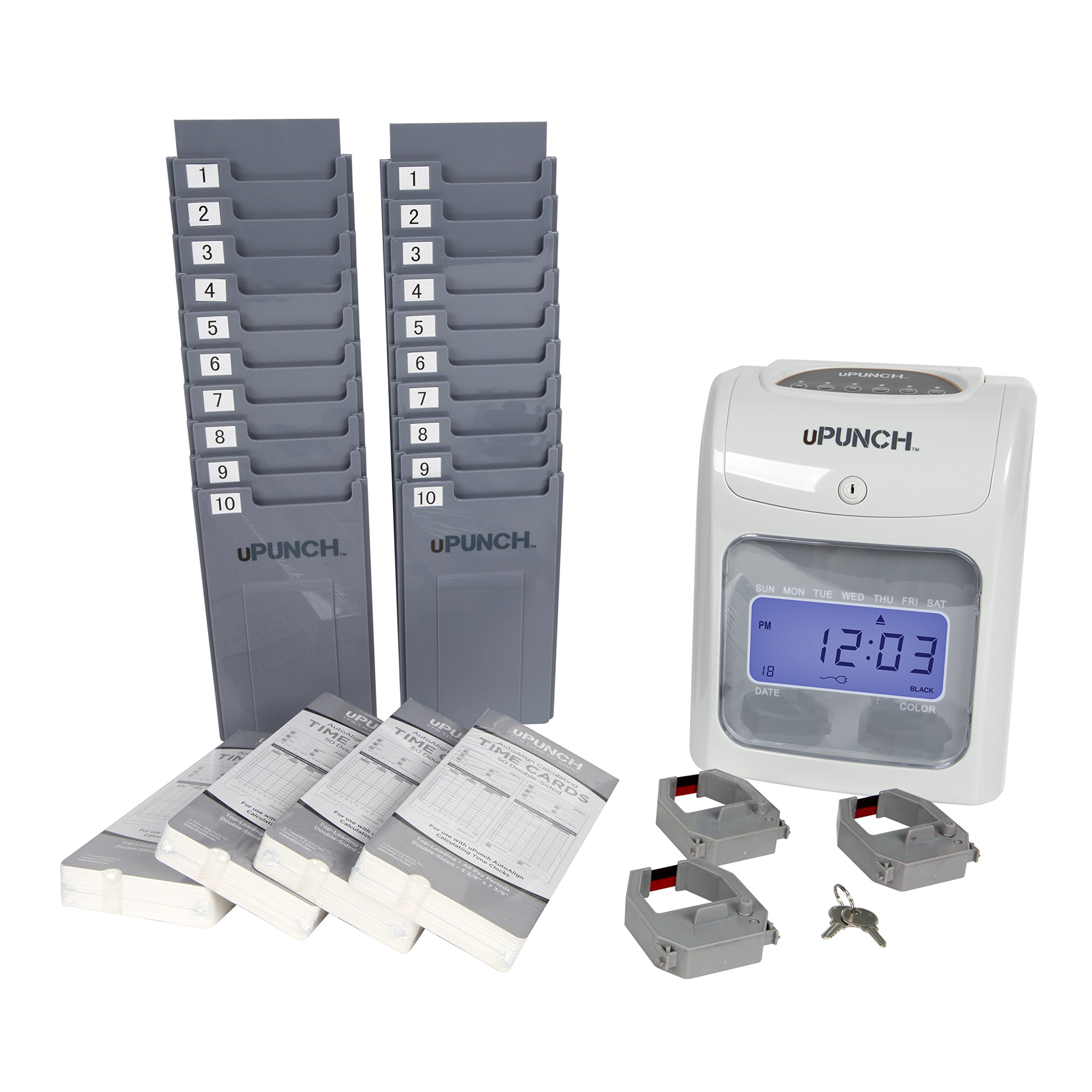 CALCULATING uPunch Time Clock Bundle with 200 Cards, 3 Ribbons, 2 Time Card Racks, & 2 Keys (HN4500) by uPunch