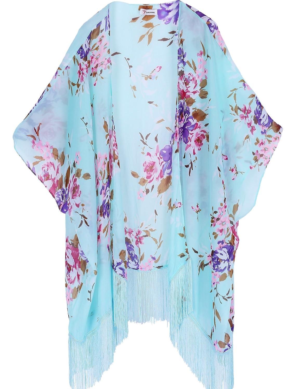 soul young Women's Floral Kimono Cover Up - Lightweight Leopard Chiffon Beachwear for Bikini, Cardigan and Swimwear