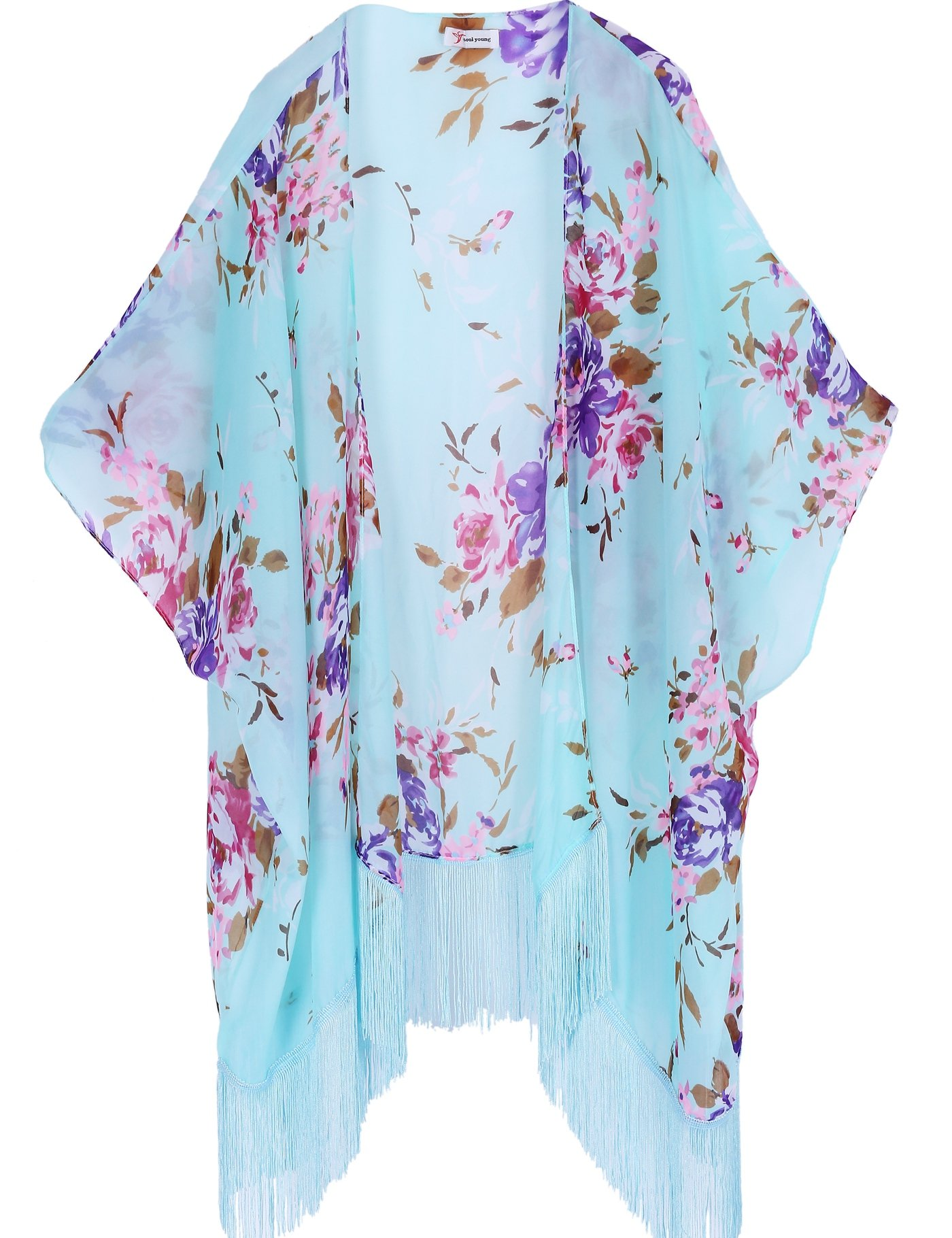 Women's Floral Kimono Cover Up - Lightweight Leopard Chiffon Beachwear for Bikini,Cardigan and Swimwear (One Size, Light Blue)