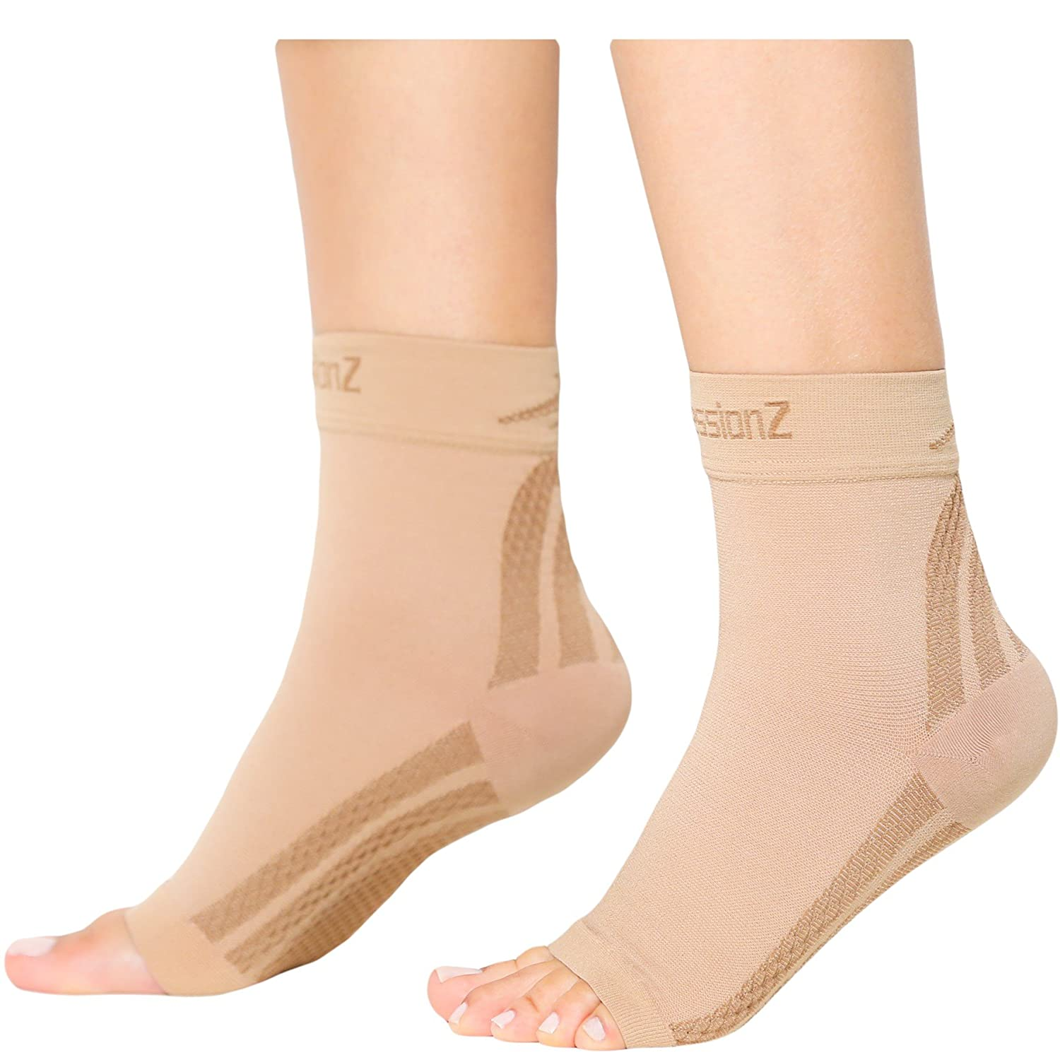 6cec9ddc1f Amazon.com: CompressionZ Plantar Fasciitis Socks - Compression Foot Sleeves  - Ankle Brace w/Arch Support - Pain Relief for Heel Spurs, Edema, ...