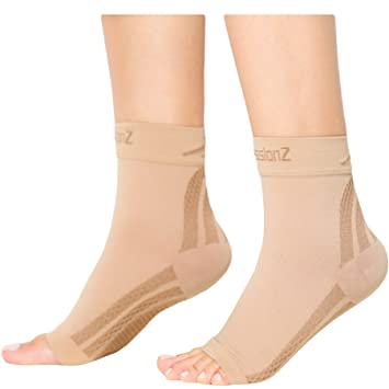 80b60d4f99 CompressionZ Plantar Fasciitis Socks - Compression Foot Sleeves - Ankle  Brace w/Arch Support -