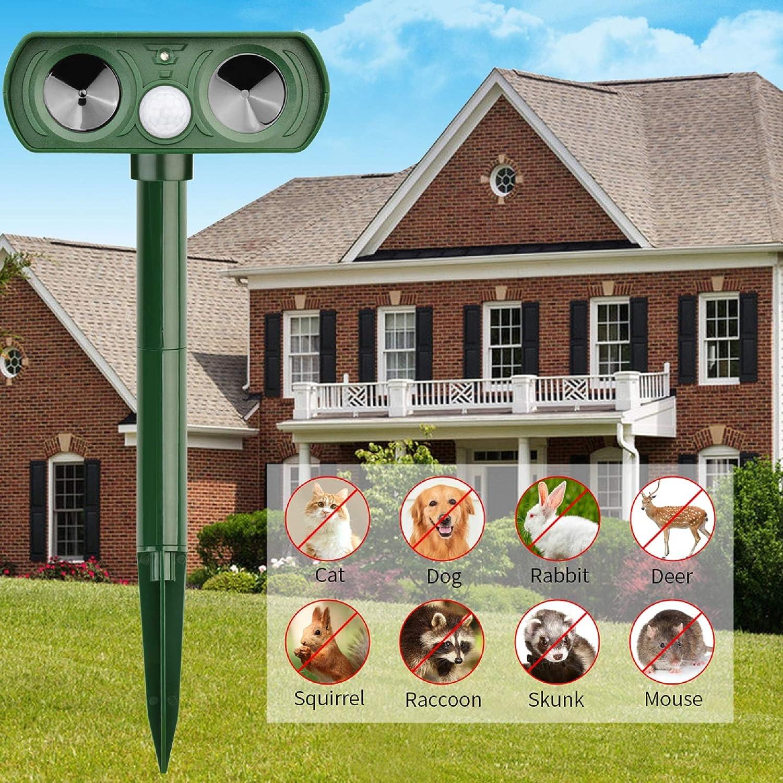 Lubatis Ultrasonic Animal Repeller Solar Powered Cat Repellent Waterproof Motion Sensor Activated, Deterrent Chaser Protect Farm Garden Yard