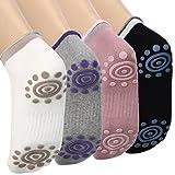 DAS Leben Yoga-Socken mit Gummipunkte gegen Rutsch von Baumwolle für Damen (4 Paare) size: 35-38