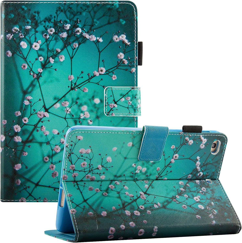 iPad Mini Case, iPad Mini 5 Case with Pencil Holder, Dteck Slim Leather Folio Stand Smart Case with Sleep/Wake, Card Slots for Apple iPad Mini 5/4/3/2/1, Pear Blossom
