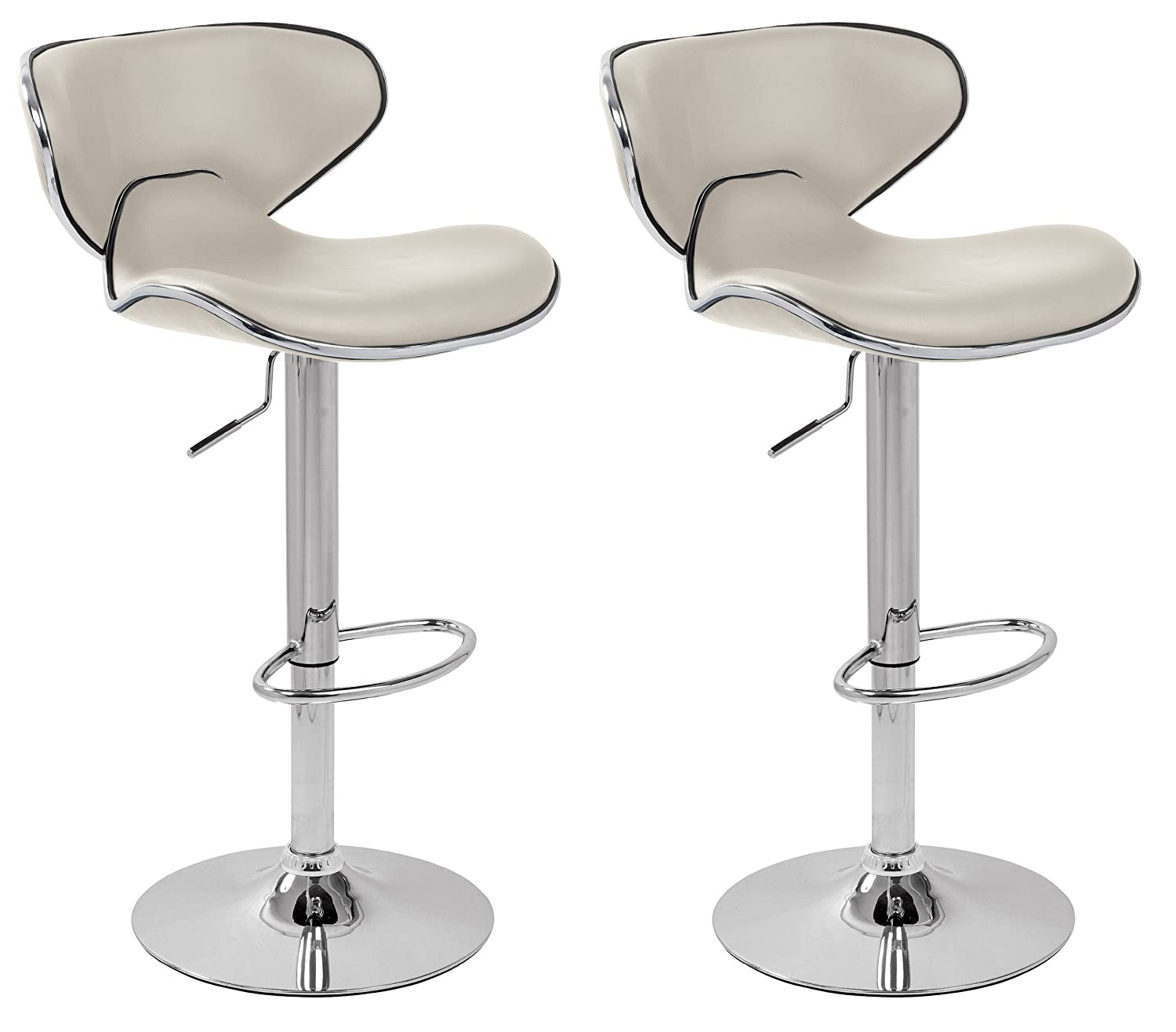 BRAND NEW PAIR OF JET WHITE FAUX LEATHER BREAKFAST KITCHEN BAR