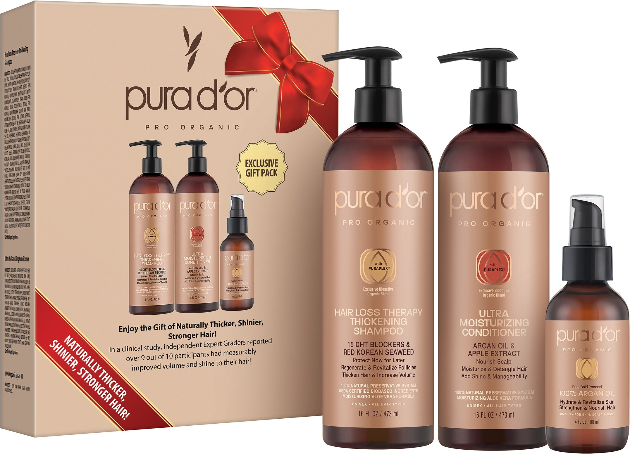 PURA D'OR Clinically Tested Professional Grade Hair Loss Therapy Thickening Shampoo & Conditioner 2X CONCENTRATED, Gift Set Includes FREE BONUS 4oz Organic Argan Oil