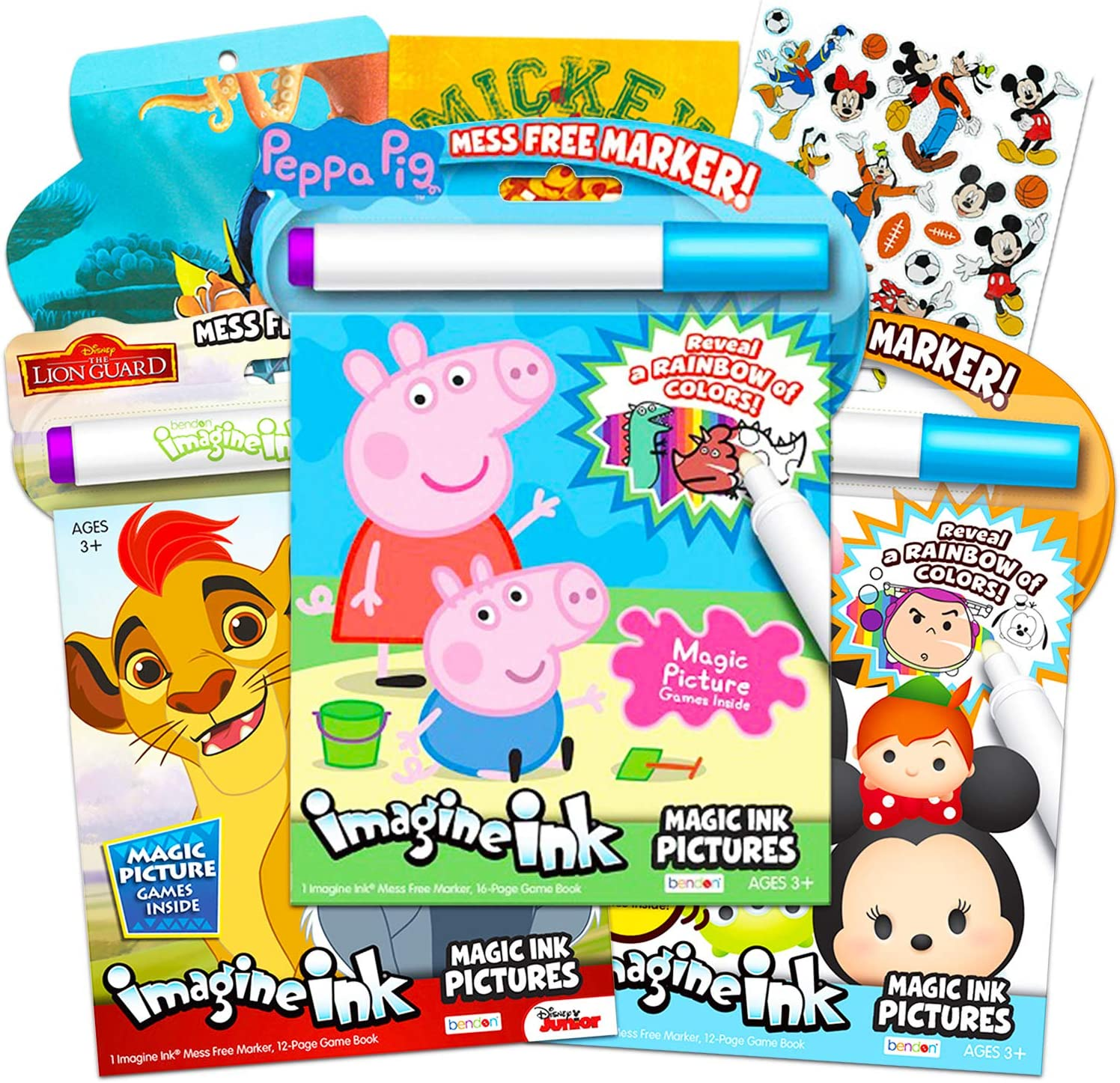 Imagine Ink No Mess Coloring Book Super Set ~ Bundle Includes 3 No Mess  Magic Ink Activity Books Featuring Peppa Pig, Lion Guard, and Tsum Tsum  with ...