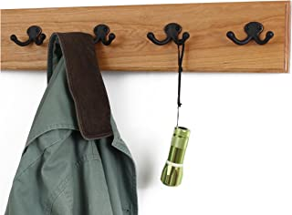 """product image for Solid Cherry Wall Mounted Coat Rack with Oil Rubbed Aged Bronze Coat Hooks - Double Style Wall Hooks - 4.5"""" Utra Wide Rail –Made in The USA - (Cherry Stain - 4.5"""" x 20"""" - 4 Hooks)"""