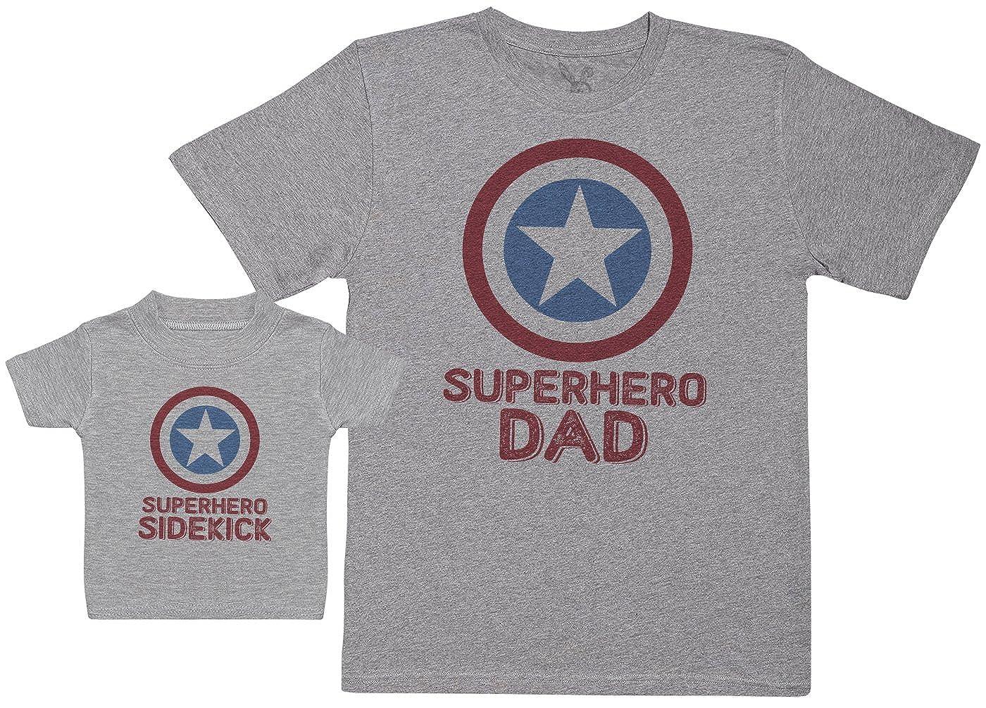 Regalo para Padres y beb/és en un Camiseta para beb/és y una Camiseta de Hombre a Juego Baby Bunny Superhero Sidekick