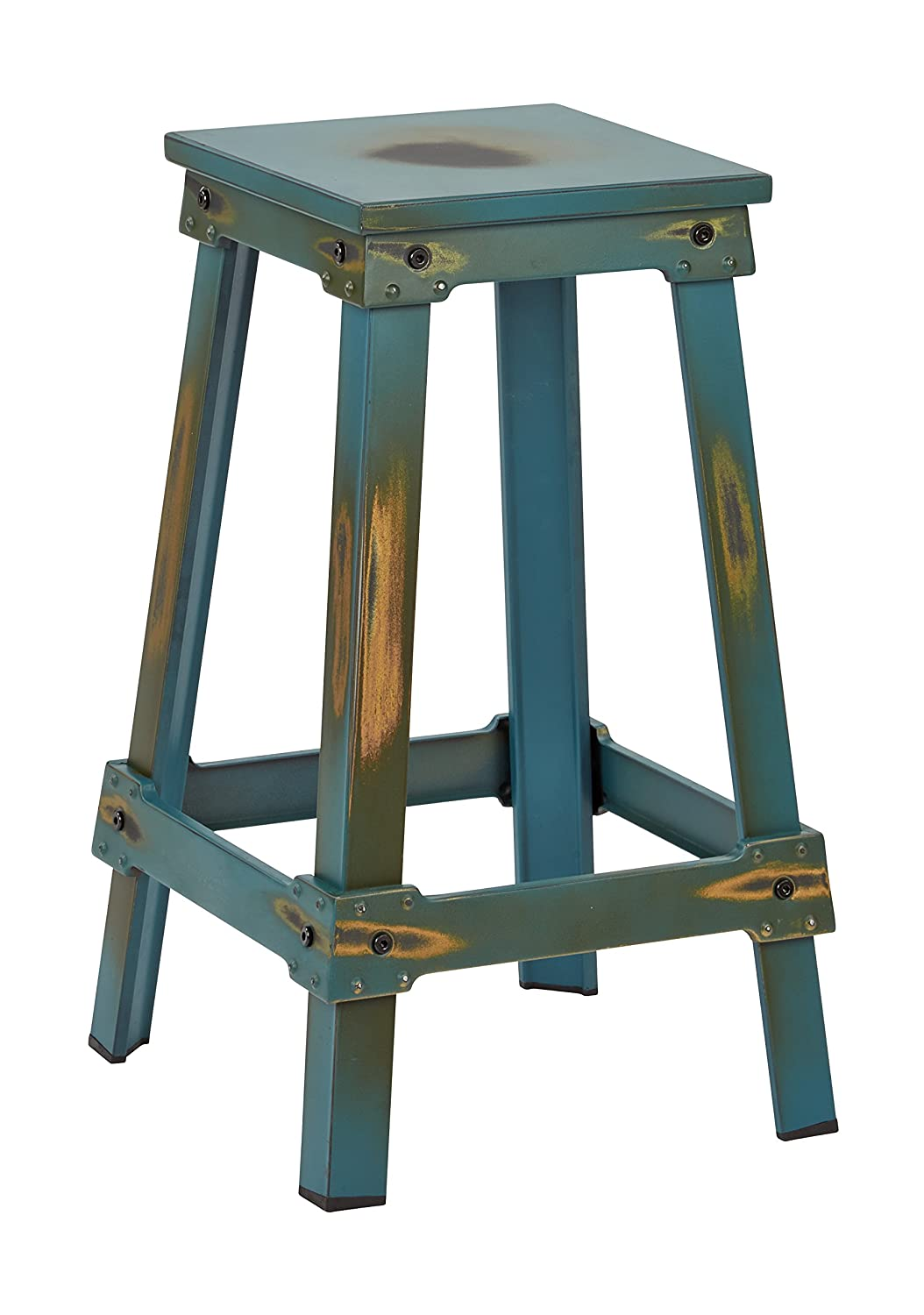 OSP Designs New Castle Metal Barstool, Antique Turquoise Kd, 26