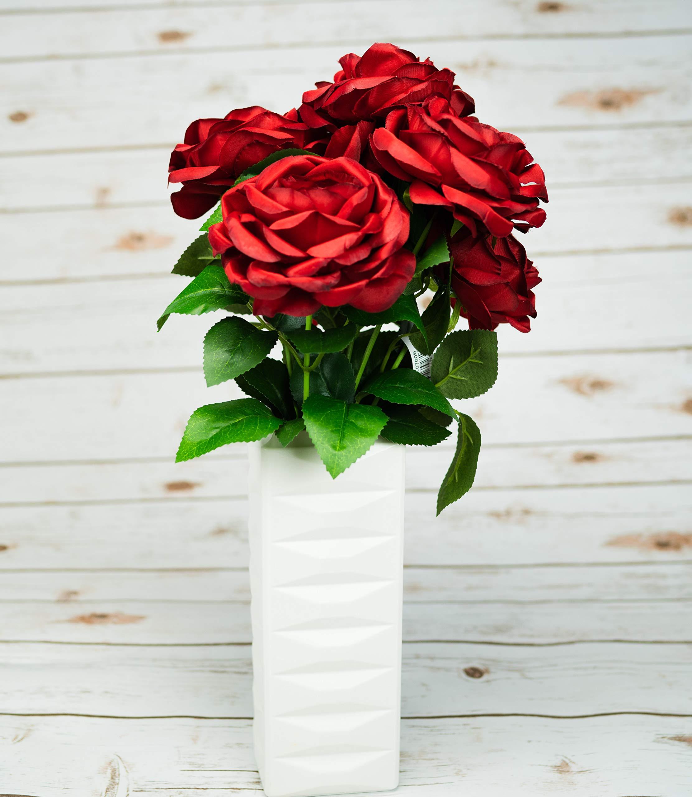 OOKi-Artificial Fake Flowers 1 Bouquet with 6 Silk 6″ Big Rose Head Flower Arrangements Wedding Bouquets Decorations Plastic Floral Table Centerpieces Home Kitchen Garden Party Décor (Red)