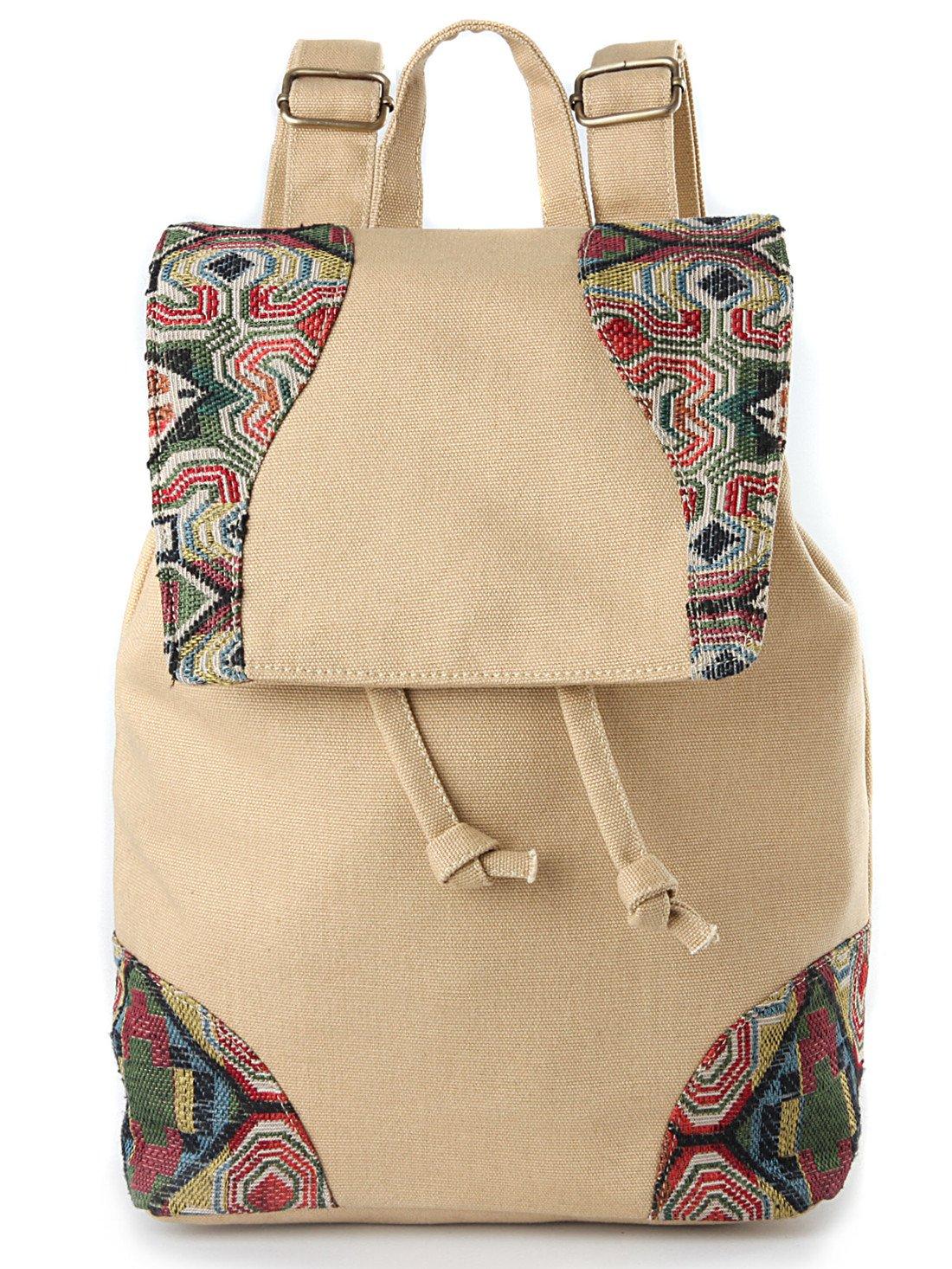 Goodhan Vintage Women Embroidery Ethnic Backpack Travel Handbag Shoulder Bag Mochila (Beige)