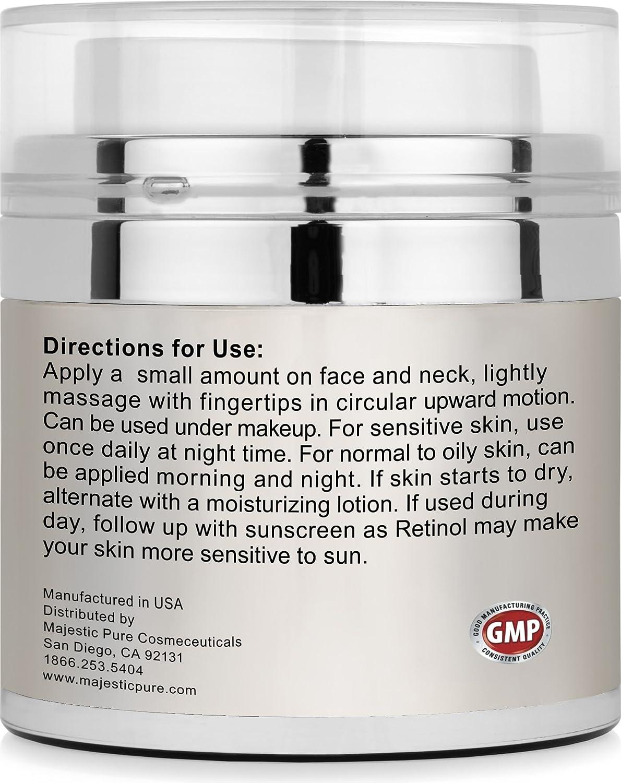Retinol amounts in moisturizers - Amazon Com Majestic Pure Retinol Cream Multipurpose Anti Aging Retinol Face Cream Eye Cream Reduces The Appearances Of Wrinkles Stretch Marks Redness