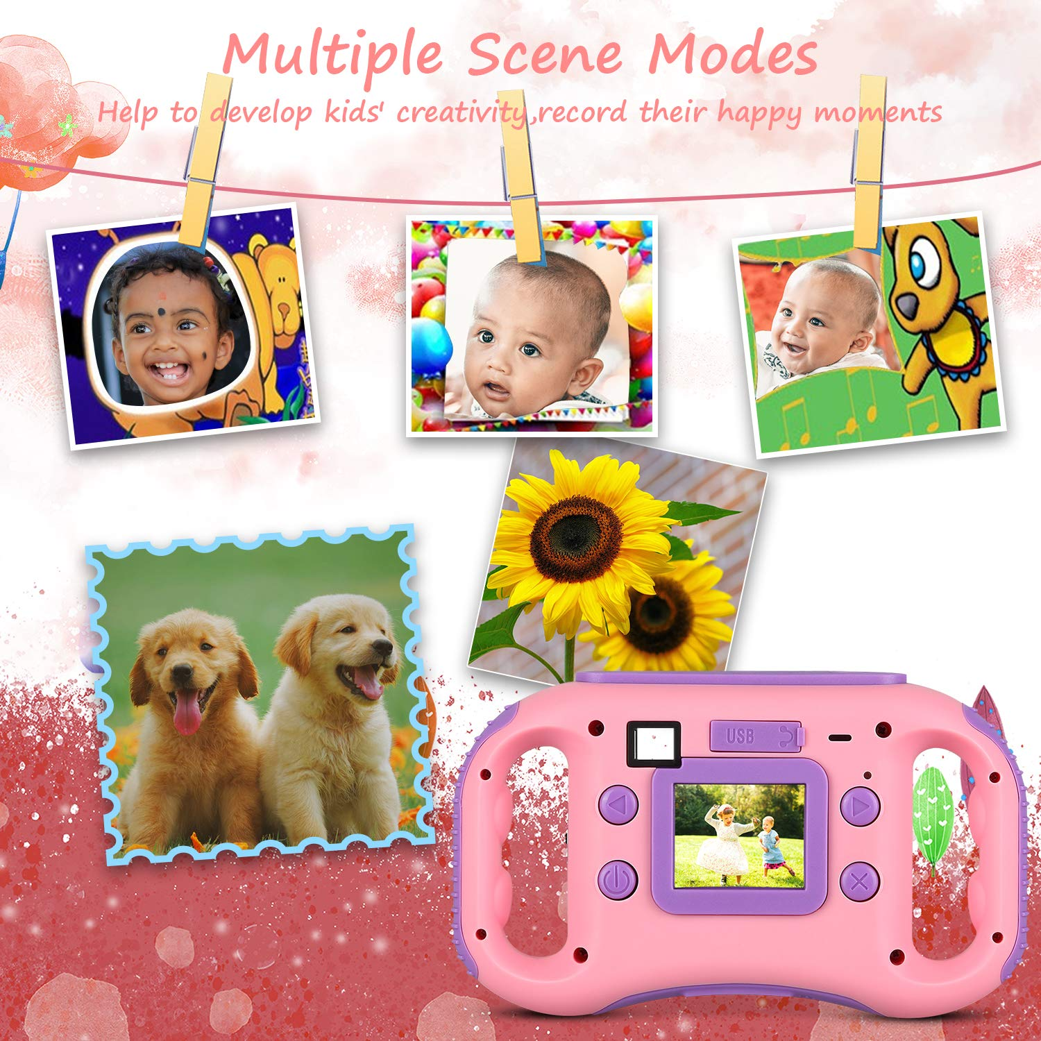 AGM Kids Camera for Girls & Boys, 1.77Inch Children Video Recorder Toddler Digital Camera,Creative Birthday Children's Day Gifts (Pink) by AGM (Image #3)