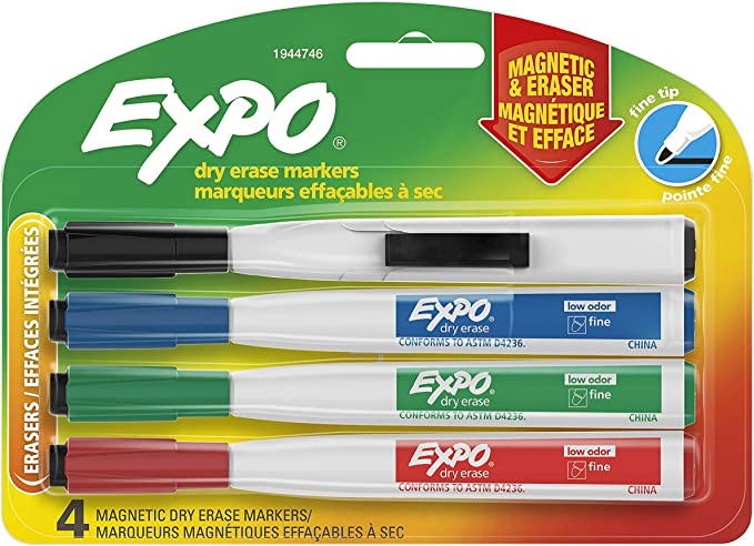 Expo Magnetic Dry Erase Markers With Eraser Fine Tip Low Odor Ink 4 Count 4 Assorted Colors Black Red Blue Green Office Products