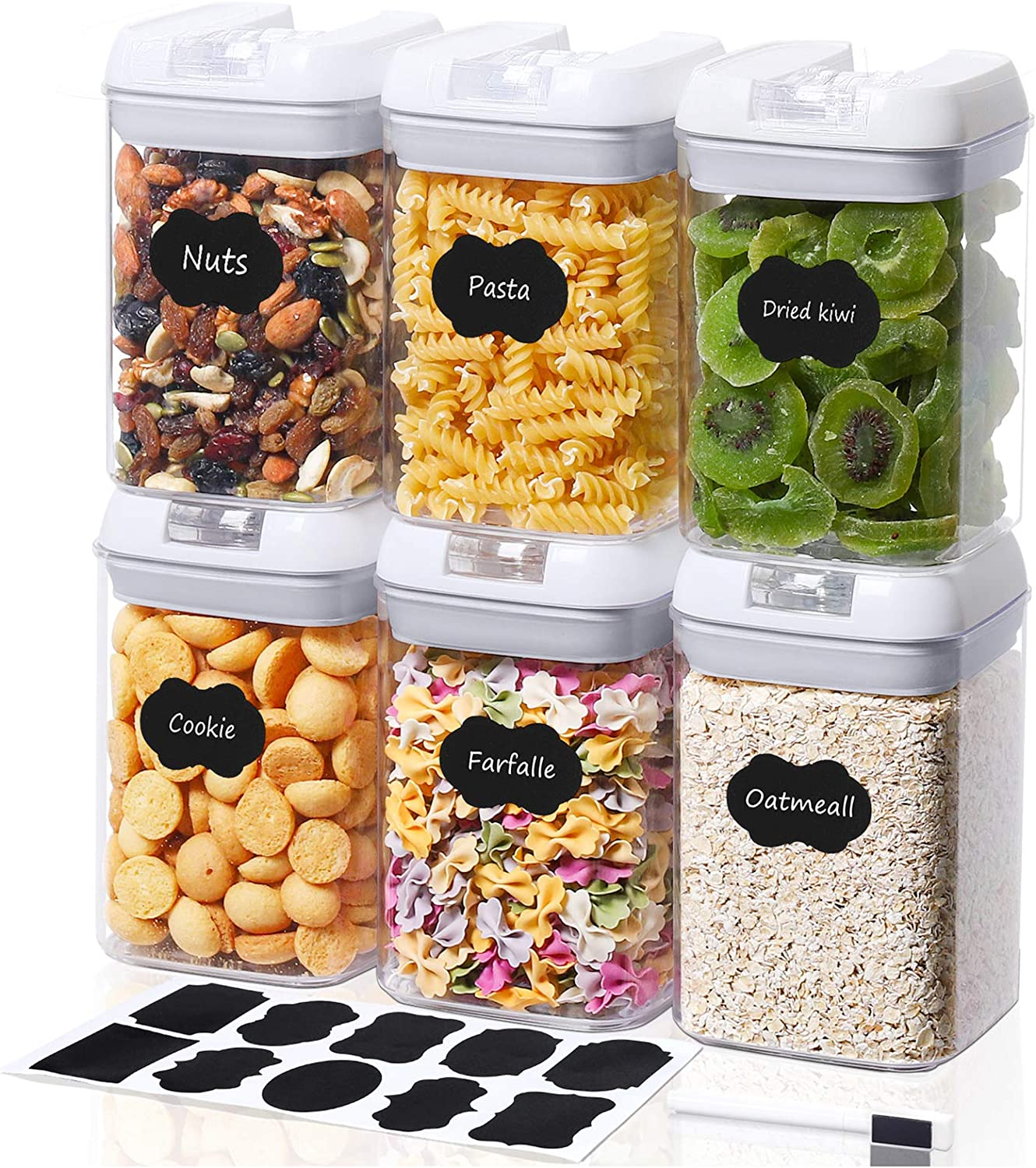 TIANGR 27OZ(800ML)Airtight Food Storage Containers[6PCS]Small Cereal Containers With Lids - BPA Free -10 Labels - Easy Lock Design - For Kitchen Pantry Snacks Food Storage