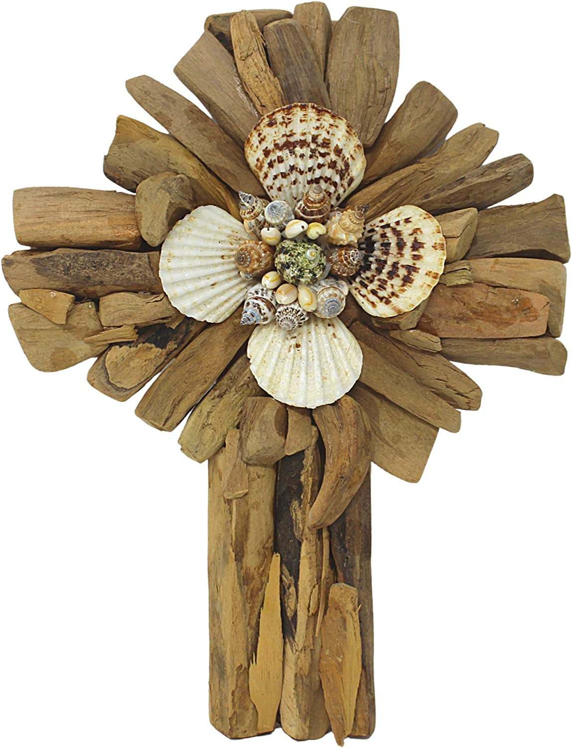Driftwood Cross with Seashells, Christian Beach House Home Decor for Shelves, Tables, 14 Inches