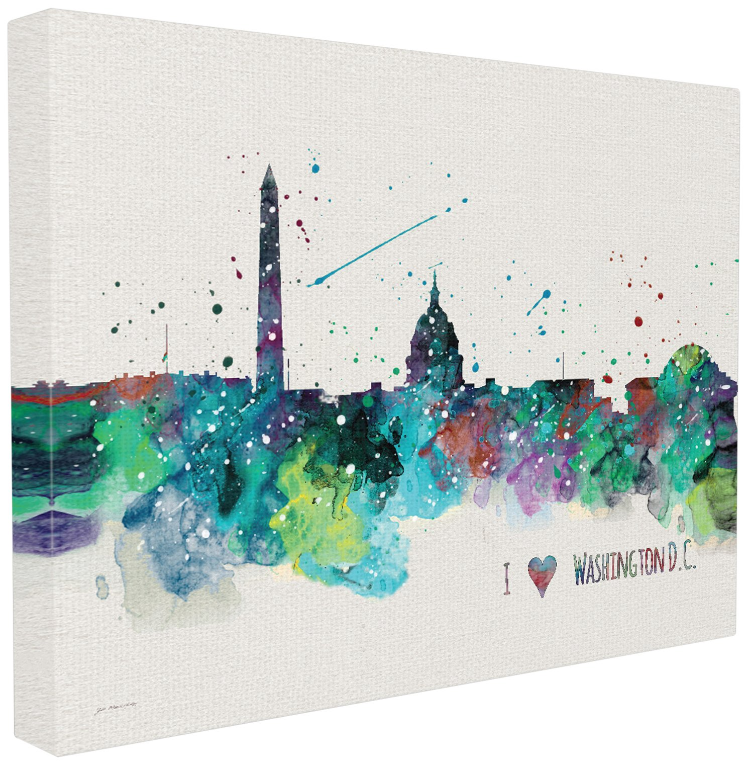 The Stupell Home Decor Collection Stupell Industries I Heart Love DC Paint Splatter Oversized Stretched Canvas Wall Art, Proudly Made in USA