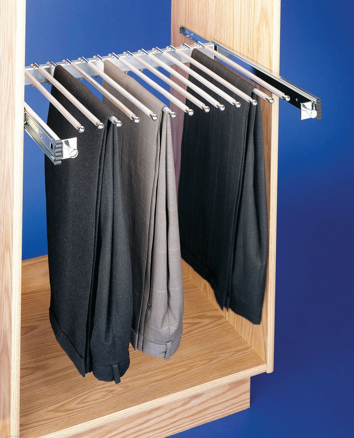 Rev-A-Shelf-18 Chrome Pull-Out Pants Rack with Full-Extension Slides PSC-1814CR