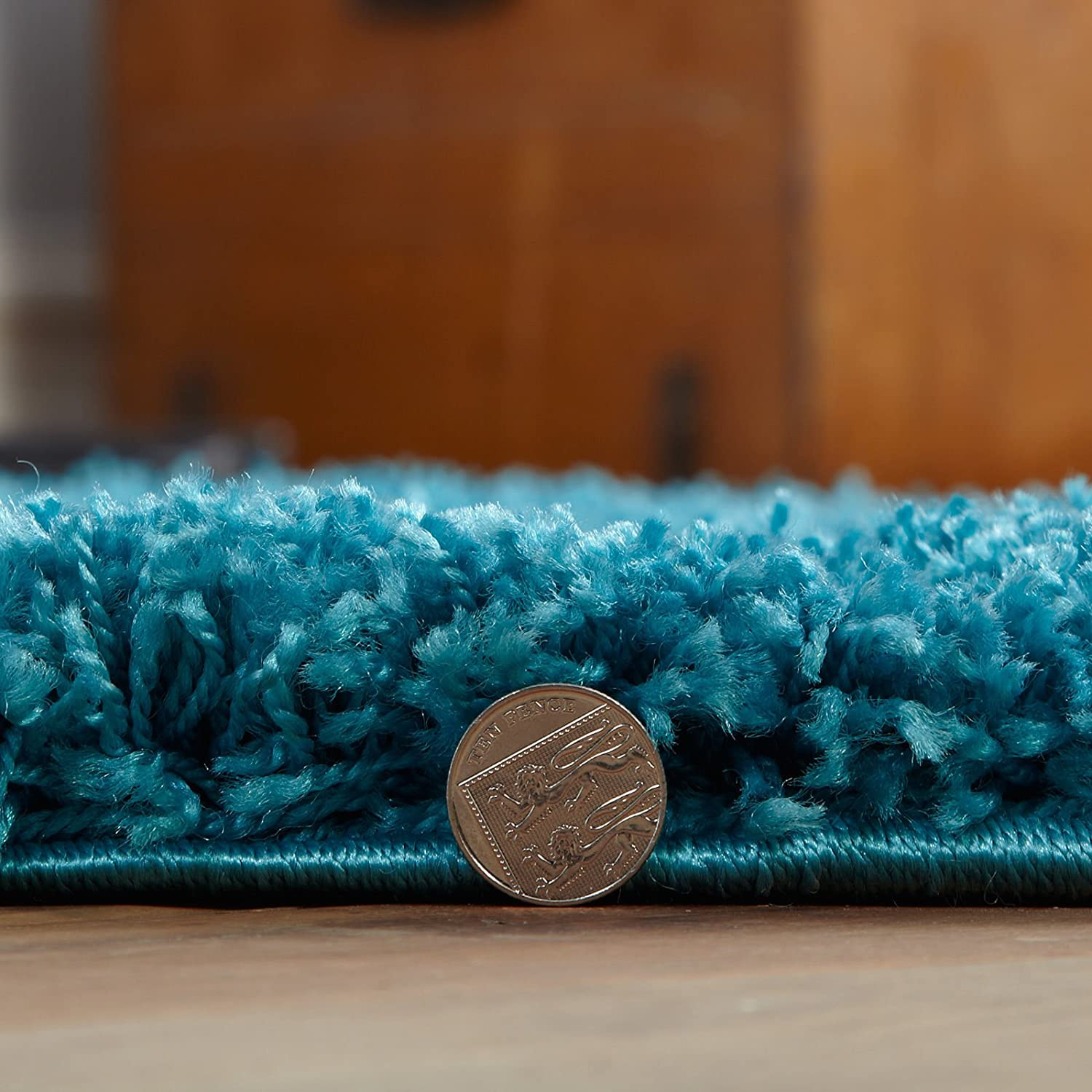 5 SIZES AVAILABLE 2ft 3 x 3ft 7 FB FunkyBuys/® SOFT LUXURIOUS TEAL BLUE 5CM THICK DENSE PILE TURQUOISE SHAGGY RUGS BEDROOM AND LIVING ROOM NON SHED ANTI SKID CARPETS 66cm x 110cm