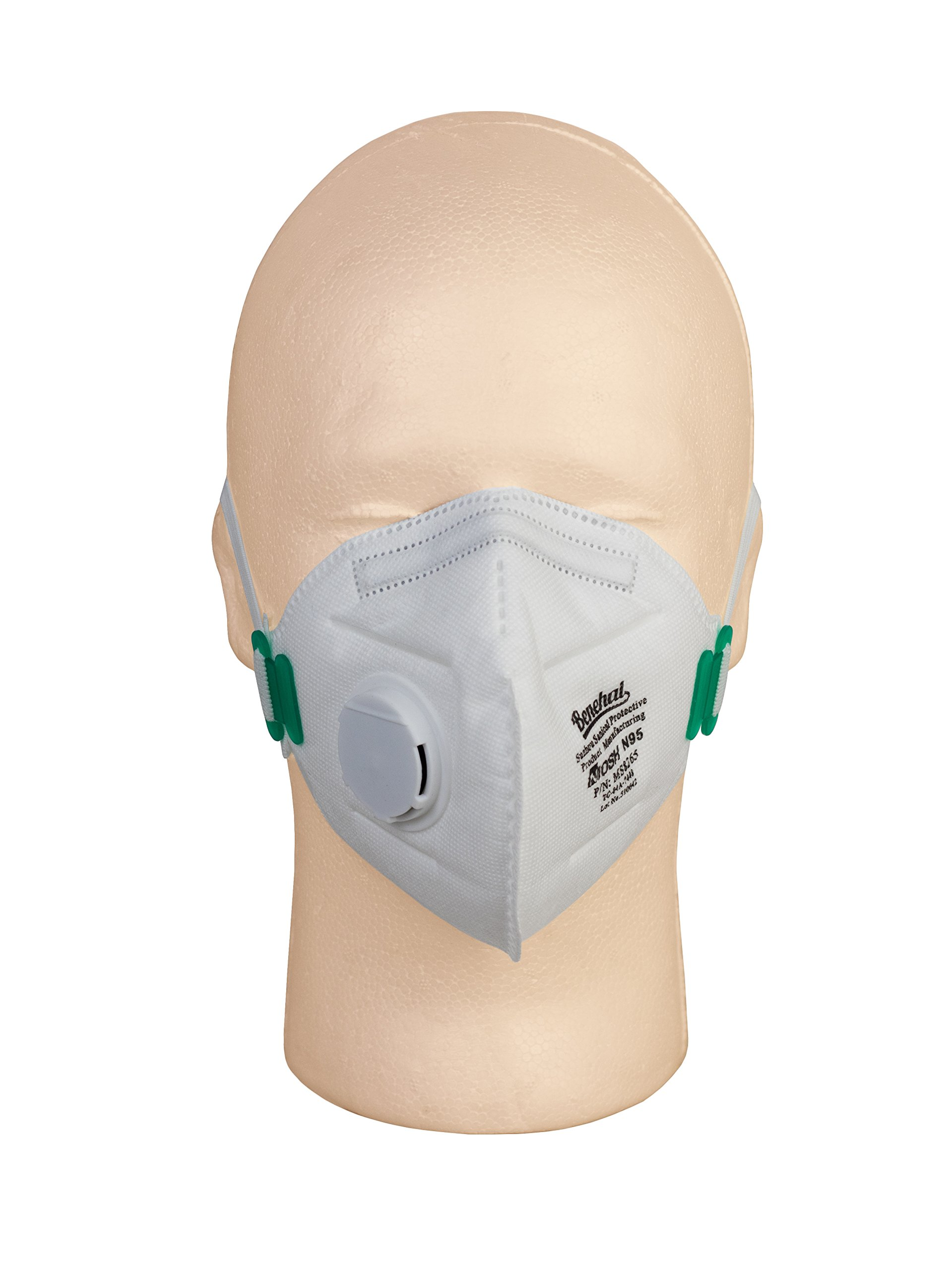 PneumaticPlus Benehal Respirator Disposable Dust Mask - NIOSH N95 Approved with Nose Clip and Exhaust Valve, Pack of 10