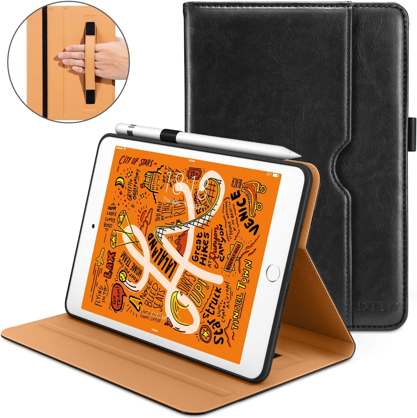 DTTO iPad Mini 5th Generation 2019 Case, [Noble Series] Leather Folio Cover Case with Apple Pencil Holder for iPad Mini 5 2019 [Auto Sleep/Wake], Black