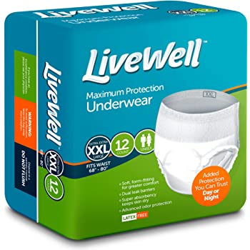 LiveWell Supreme FlexRight Protective Unisex Underwear (Double Extra Large - XXL 68
