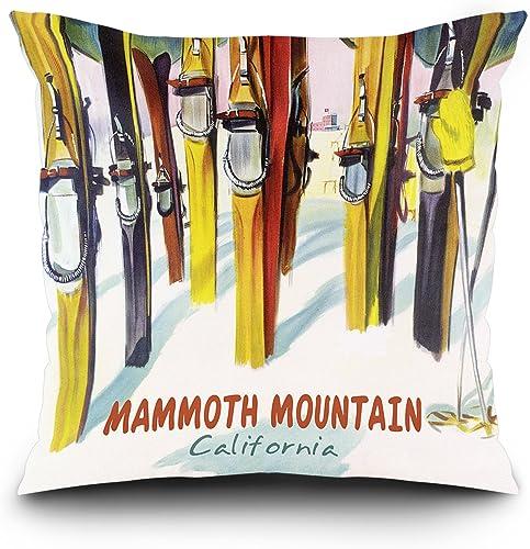 Lantern Press Mammoth Mountain, California – Colorful Skis 20×20 Spun Polyester Pillow, Square