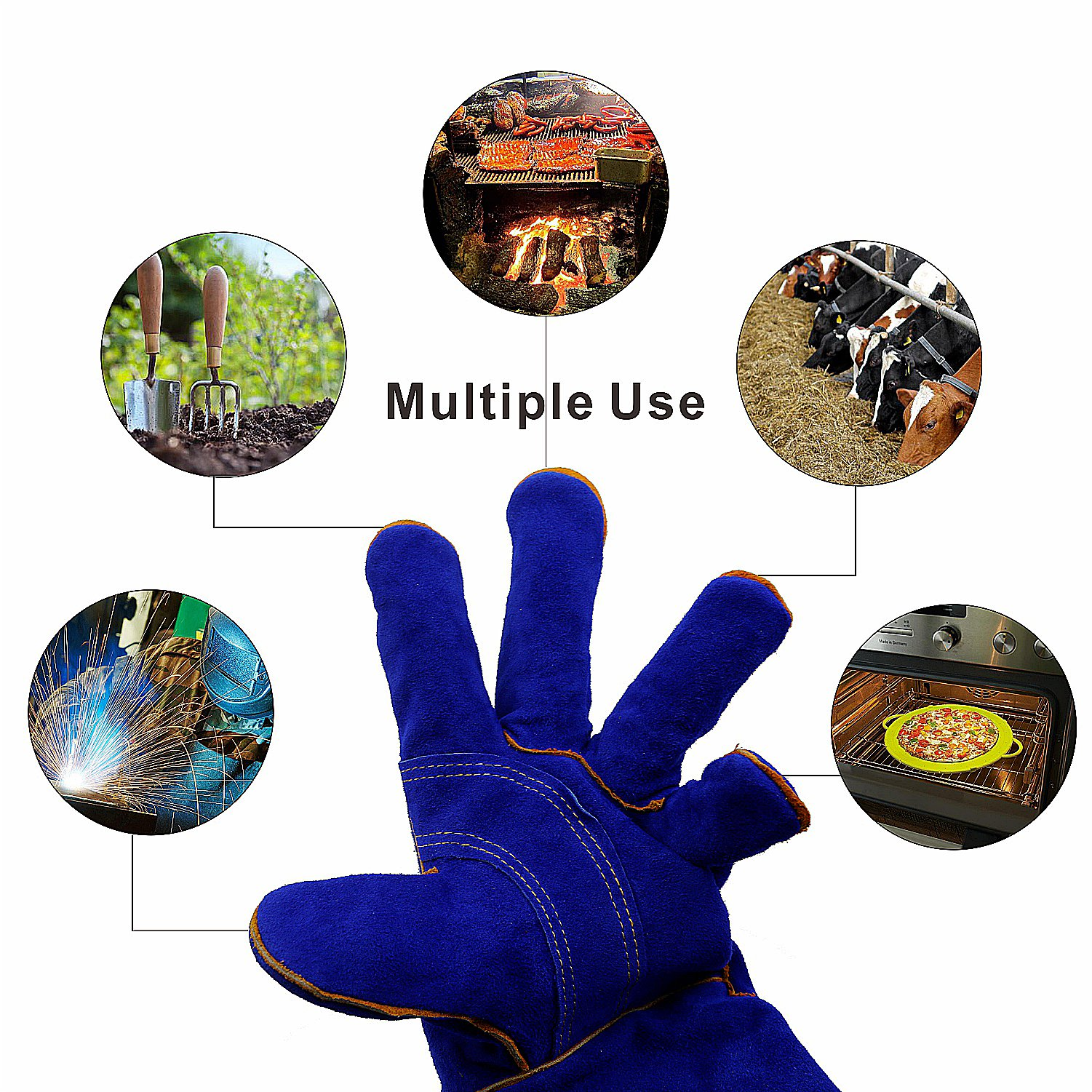 KIM YUAN Leather Welding Gloves - Heat/Fire Resistant, Perfect for Gardening/Oven/Grill/Mig/Fireplace/Stove/Pot Holder/ Tig Welder/Animal Handling/BBQ - 14inches by KIM YUAN (Image #7)