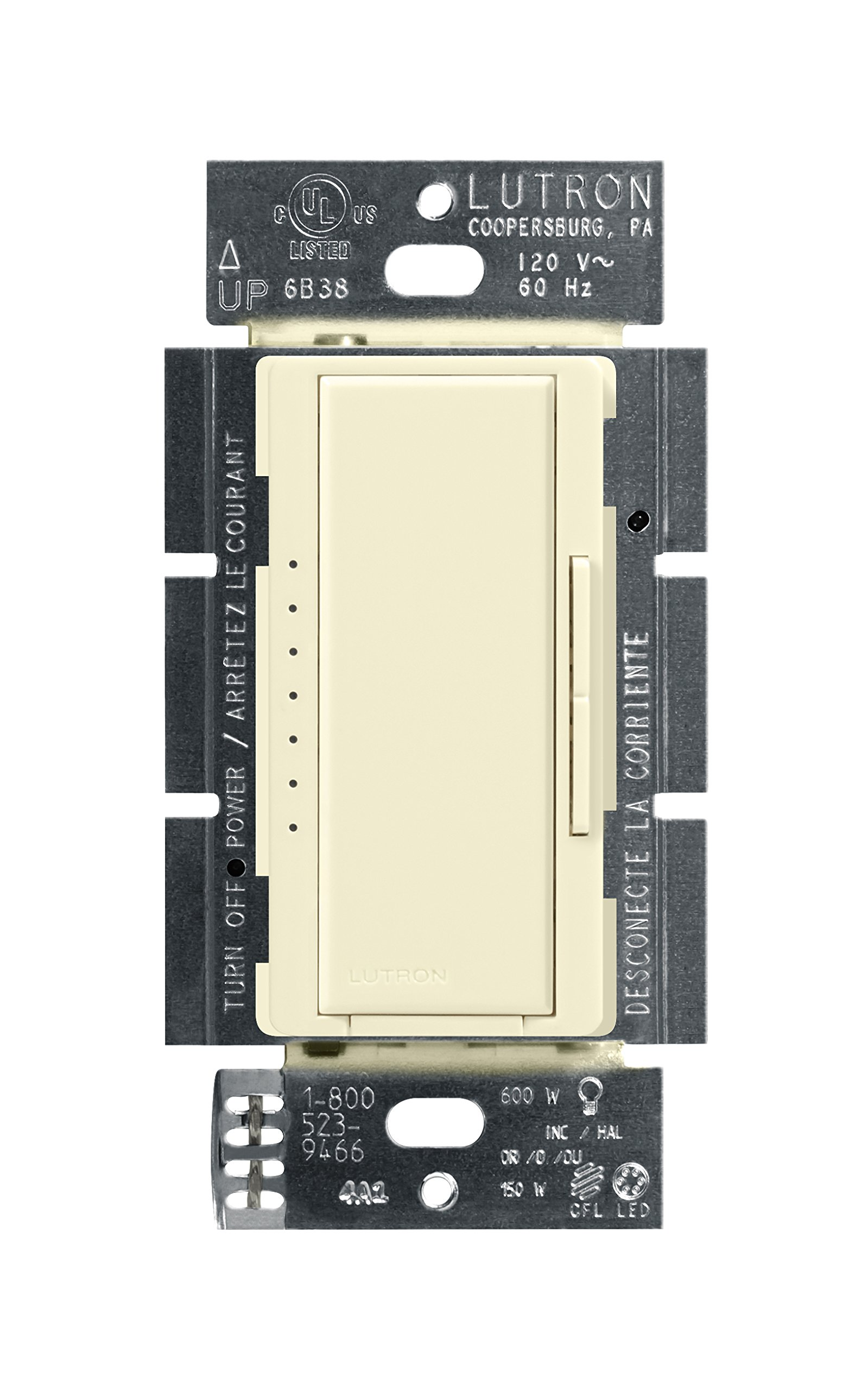 Lutron Maestro C.L Dimmer Switch for Dimmable LED, Halogen & Incandescent Bulbs, Single-Pole or Multi-Location, MACL-153M-AL, Almond