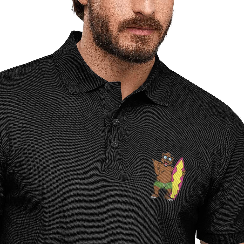 WENL Surfing Bear Mens Button Down Casual Polo Shirt