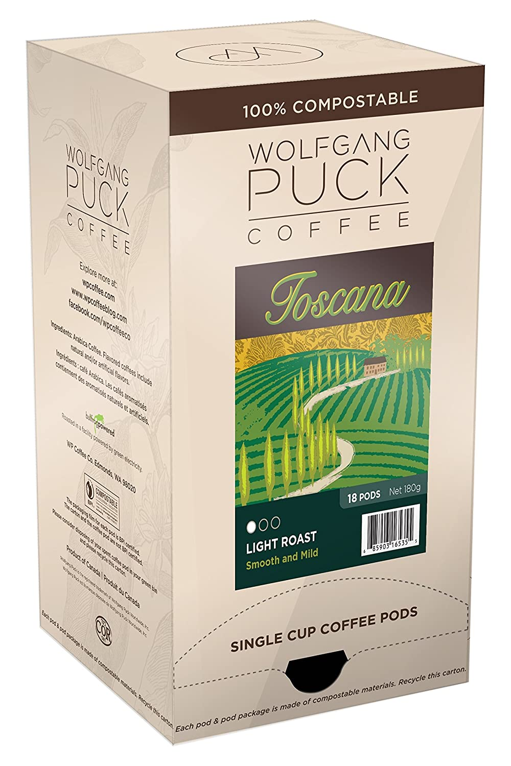 Wolfgang Puck Soft Coffee Pods, Toscana Coffee, 9.5 Gram, (Pack of 6 -18 Each)