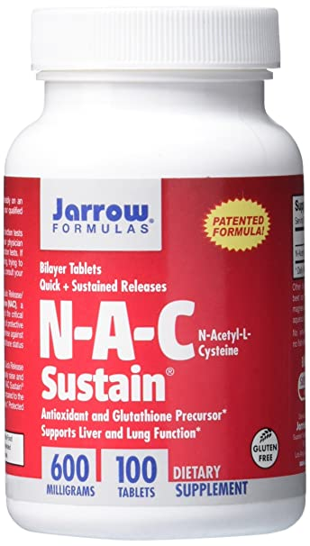 Jarrow Formulas NAC Sustain, Supports Liver and Lung Function, 600 mg, 100  Sustain tabs