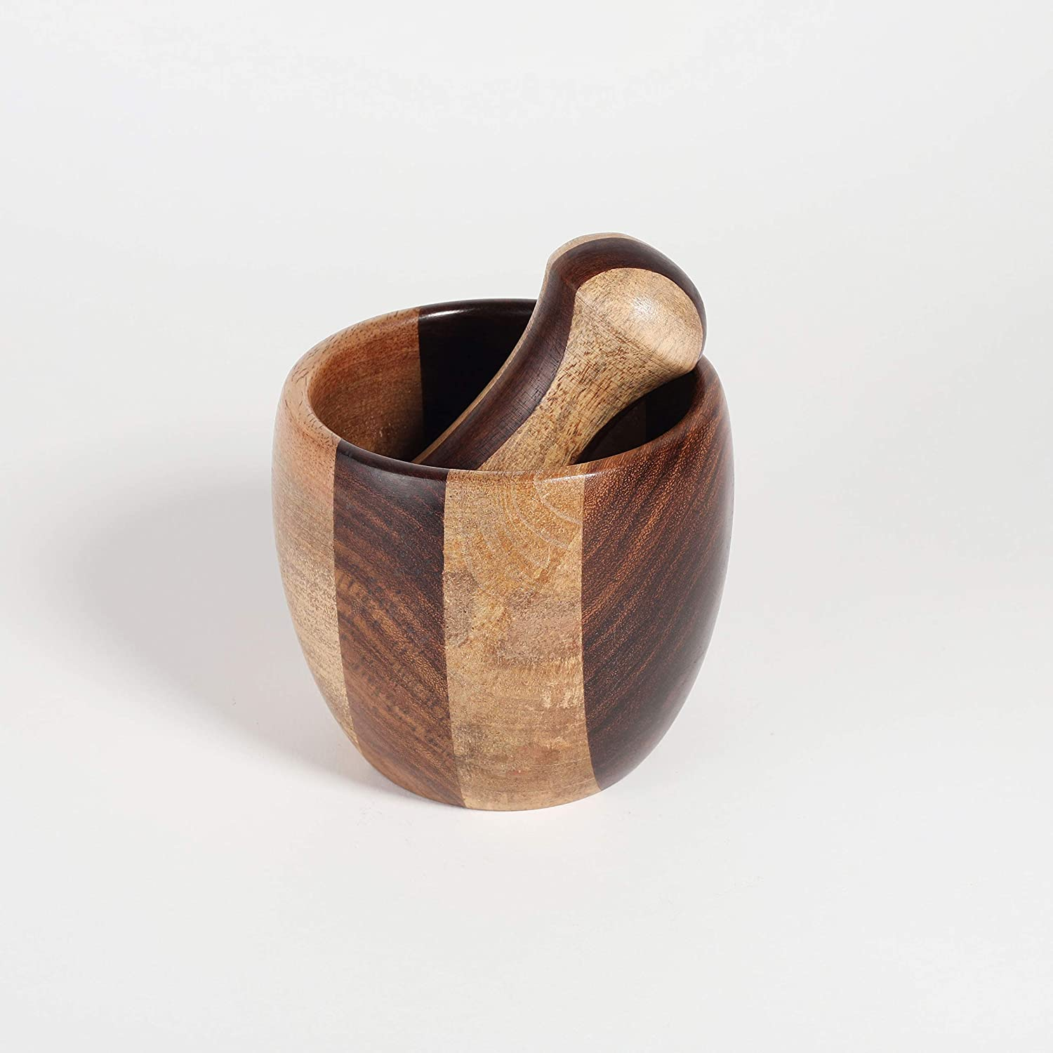 4x4 in Rusticity Wooden Mortar /& Pestle Grinder Set for Kitchen Handmade Round Manual Kharal Smasher,