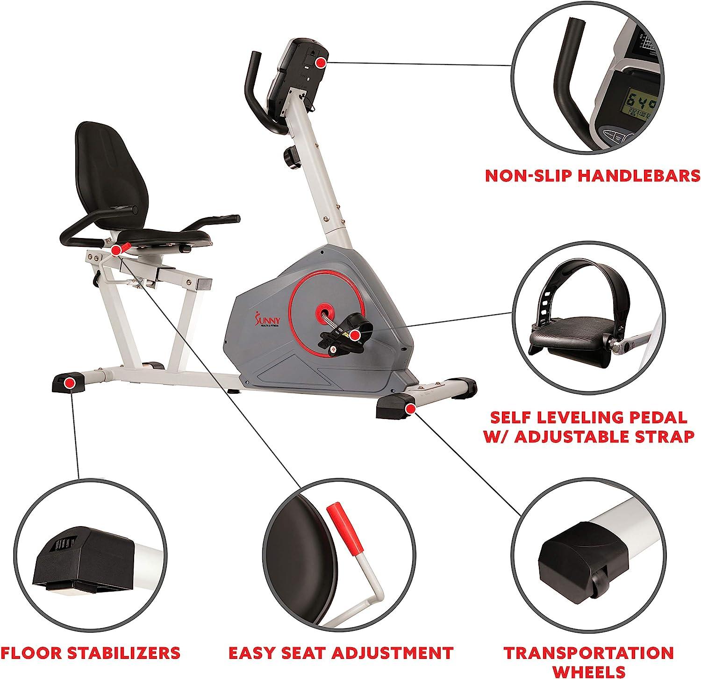 Sunny Health /& Fitness Magnetic Recumbent Bike