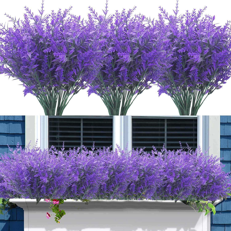 12 Bundles Artificial Lavender Flowers Outdoor Fake Flowers for Decoration UV Resistant No Fade Faux Plastic Plants Garden Porch Window Box Décor (Blue)
