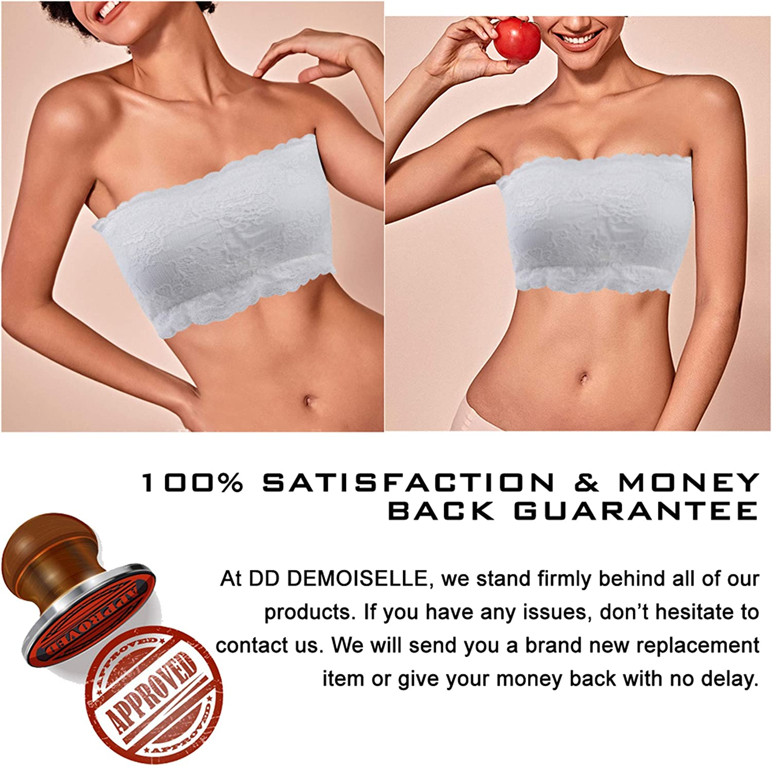 DD DEMOISELLE Womens Strapless Bralette Seamless Bandeau Stretchy Removable-Padded Bandeau Tube Top Bra 3-Pack