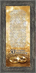 Crossroads Home Décor 50th Wedding for Parents, 50th Anniversary Decorations for Party, Golden Anniversary 50 Year Gifts, 50th for Couples, Gift to add to Your 50th Anniversary Card 7318W