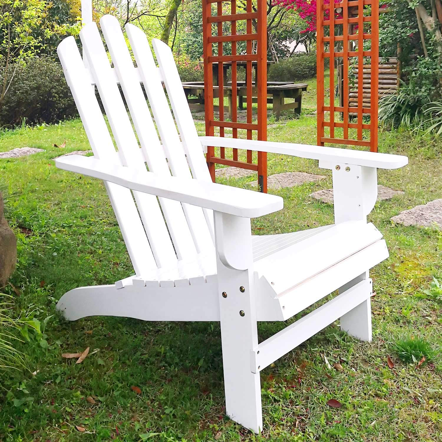 SFYLODS White Outdoor Painted Wood Fashion Adirondack Chair/Muskoka Chairs Patio Deck Garden Furniture by SFYLODS