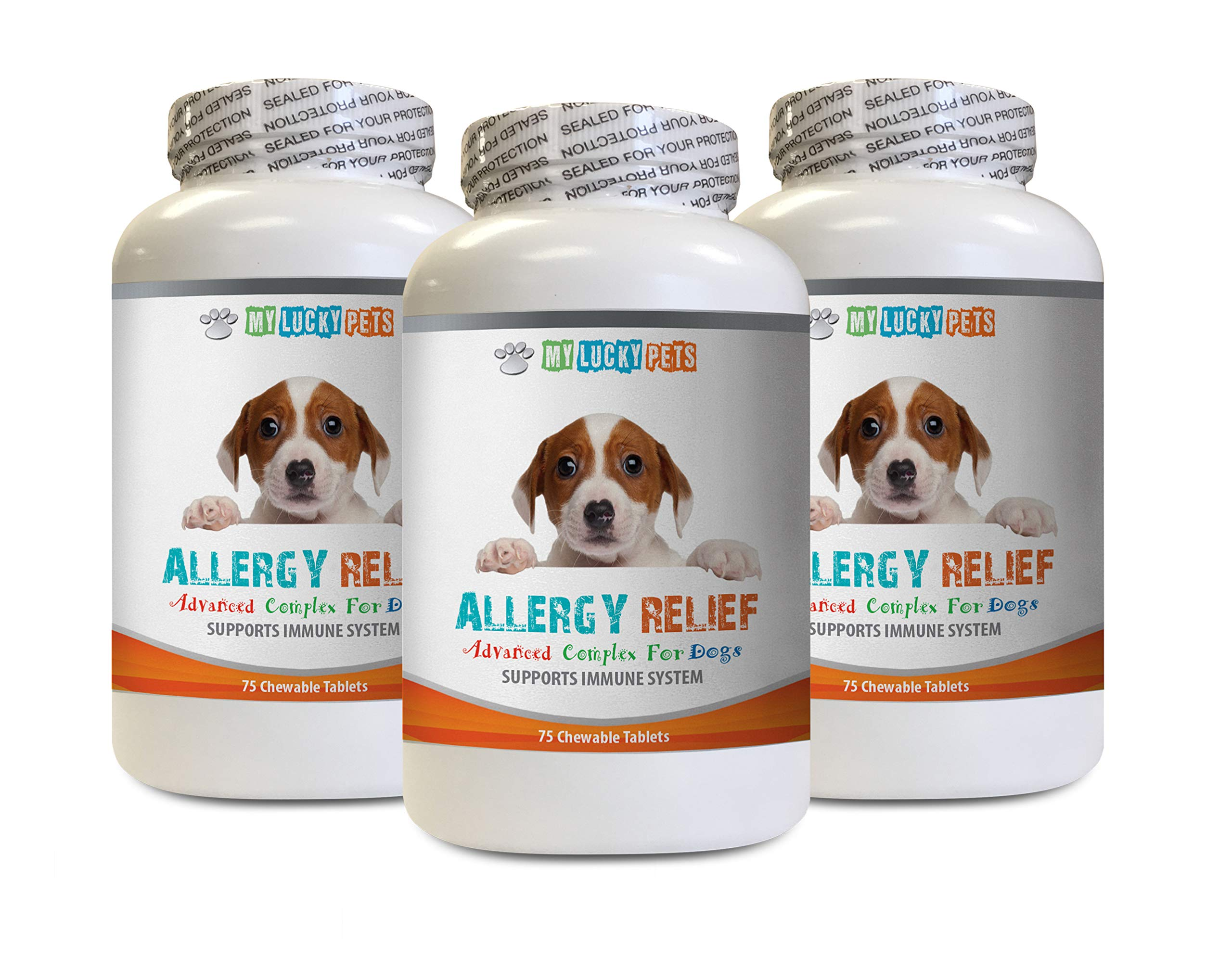 MY LUCKY PETS LLC Itch Relief for Dogs Paws - Allergy Relief for Dogs Itch Relief Support - Key Ingredients - Turmeric Bites for Dogs - 3 Bottles (225 Chewable Tablets) by MY LUCKY PETS LLC
