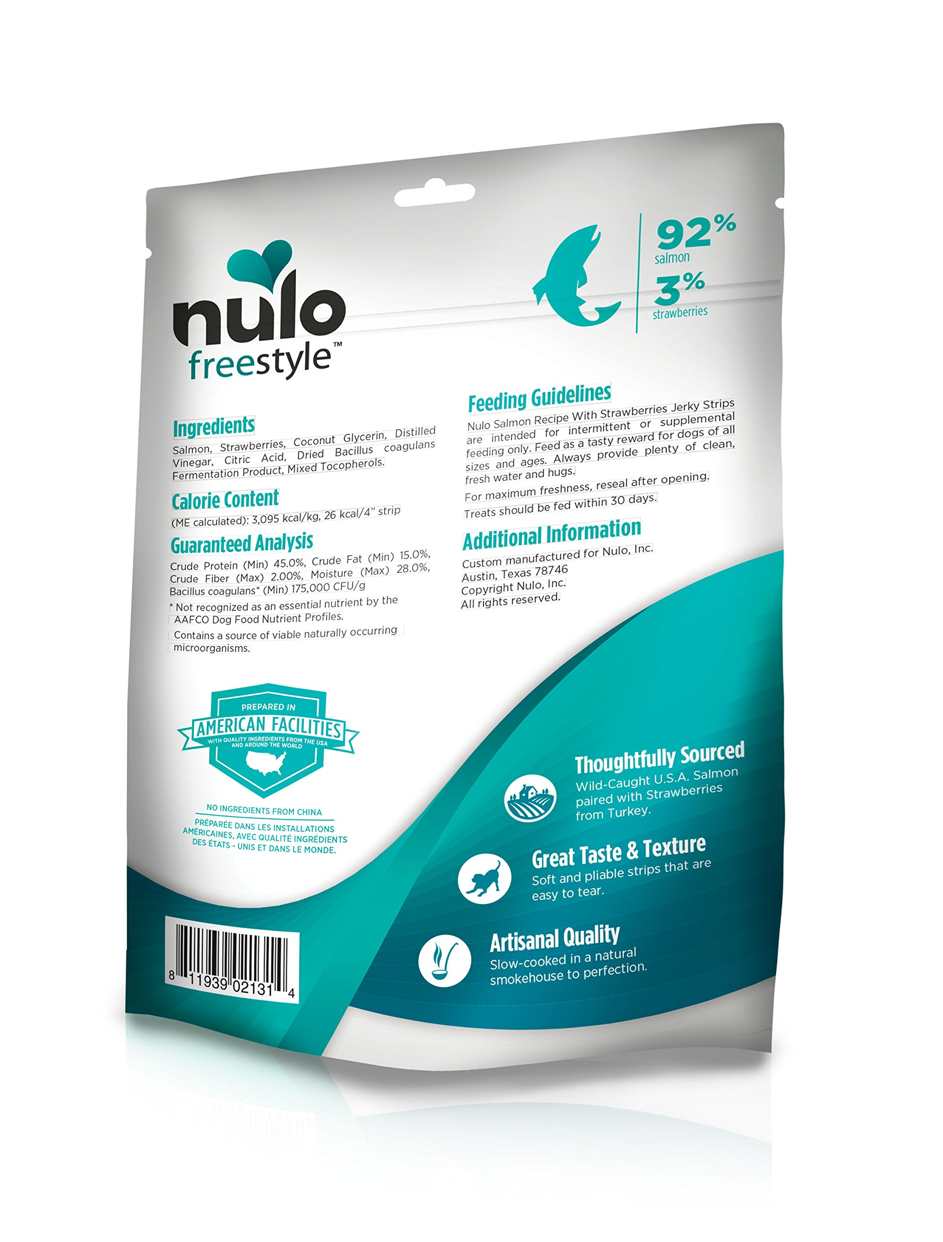 Nulo Freestyle Jerky Dog Treats: Healthy Grain Free Dog Treat - Natural Dog Treats for Training or Reward - Real Meat Jerky Strips for Puppy and Adult Dogs - Salmon with Strawberries Recipe - 5 oz Bag by Nulo (Image #2)