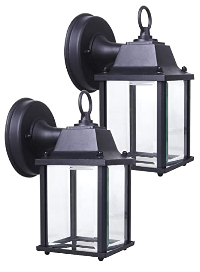 Coramdeo 2 Pack Outdoor Led Wall Lantern, Wall Sconce 9.5 W Replace 75 W Traditional Lighting Fixtures, 800 Lumen, Water Proof, Aluminum Housing Plus Glass, Etl And Energy Star Certified by Coramdeo